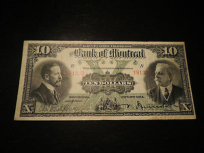 1914 Bank Of Montreal Canada $10 Ten Dollars 505-54-06 Various At Left Meredith.