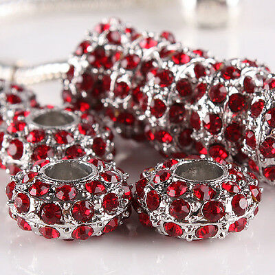 5Pcs Red Crystal Rhinestone Rondelle Silvery European Beads Fits Charms Bracelet