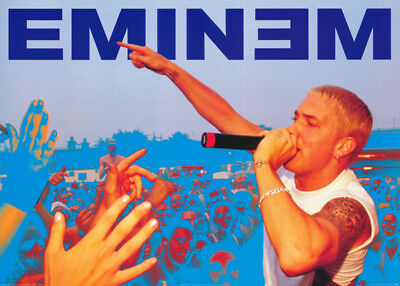 POSTER:MUSIC:RAP: EMINEM  -BLUE BACKGROUND - FREE SHIPPING !   #PP0079  LC29 i