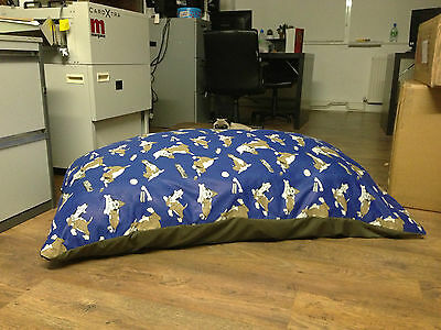 Blue Luxury fibre foam filled hypoallergenic dog bed cushion removable zip cover