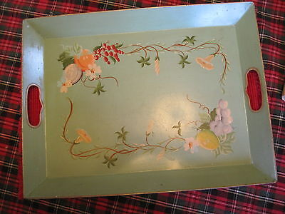 HAMMOND Country French Green Toleware Hand Painted  Vintage Tole Tray