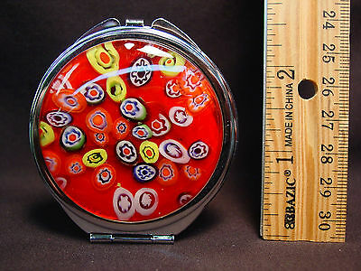 NIB Compact Double Mirror 2X Red Hand Crafted Glass Retro Style Steel Metal Disc