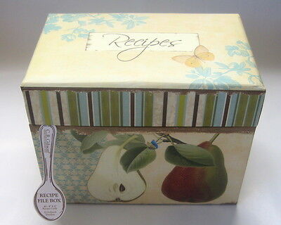 Brand New Sealed Apple Recipe Box With 40 2 Sided Recipe Cards & 12 Tab Dividers