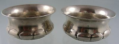 J E Ellis & Co Plain Scalloped Sterling Salt Cellars Toronto 1848