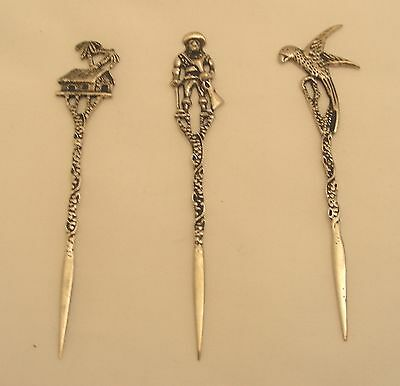 European Figural Top Silver Hors D'oeuvre Picks .900  4