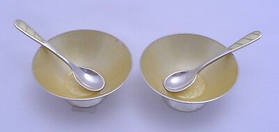ELa DENMARK STERLING & ENAMEL 2 OPEN SALTS or CELLARS with MATCHING SPOONS