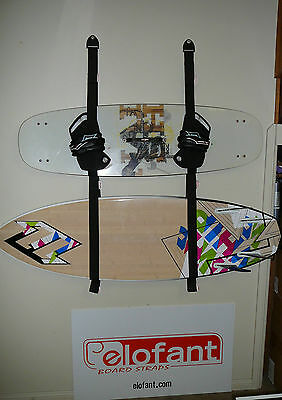 SNOW SKATE KITE and SURF GARAGE STORAGE RACK / STRAP SYSTEM HOLDS 2 BOARDS