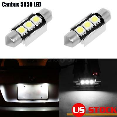 2pcs Error Free 3-SMD 6411 6418 LED Bulbs License Plate Lights For Mercedes-Benz