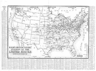 1924 RADIO STATION MAP kdka kdyl kfae kfbb kfbk kfel     .     HUGE