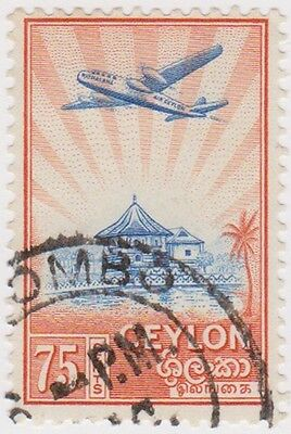 (CEY120)1950 Ceylon 75c Octagon Library Blue& Red ow417