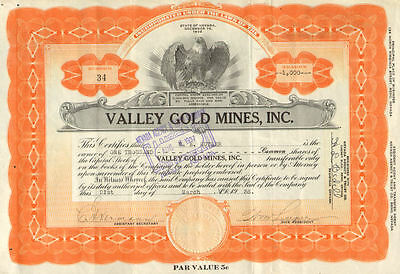 Valley Gold Mines > 1936 Nevada mining stock certificate share