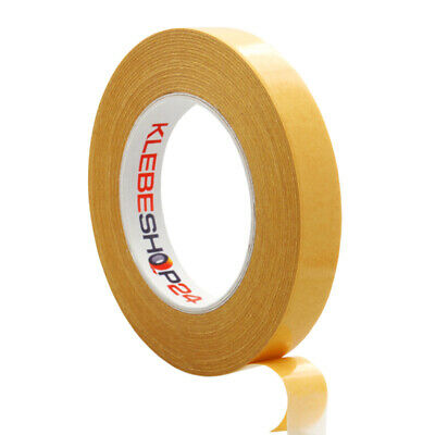 Doppelseitiges Klebeband 50 m in 6,9,12,15,19,25,38,50mm handreißbar transparent