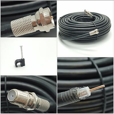 20m DIGITAL RG6 COAXIAL AERIAL SATELLITE SKY FREESAT COAX CABLE & CONNECTORS