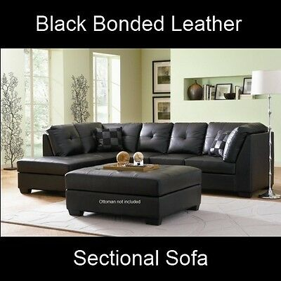 Darie Modern Black Leather Sectional Sofa Corner Couch Set ...
