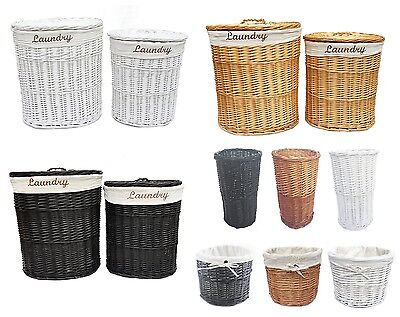 Brown White Black Oval Wicker Laundry Basket With Lid & Removable Cotton Lining