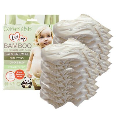 20 PACK BAMBOO Modern CLOTH Nappies Pocket Nappy 1Size Multifit SLIM Reusable