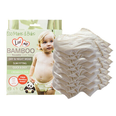 10 PACK BAMBOO Modern CLOTH Nappies Pocket Nappy 1Size Multifit SLIM