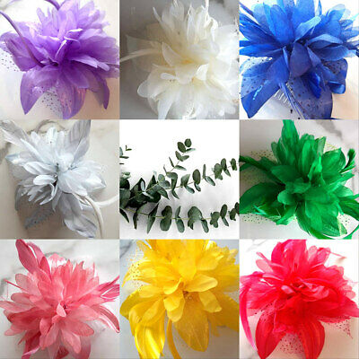 Flower & Feather Hair Comb Fascinator Wedding Races Prom Bridal Clip Slide 3