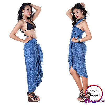 Sarong Beach Coverup Wrap Dress Sexy Skirt - Hibiscus Flower Sarong in Navy Blue
