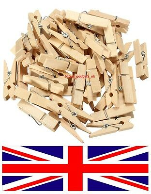 60X Mini Natural wooden mini pegs craft photo hanging spring clips wedding 25mm