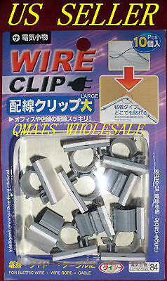 10 Pcs Cord Wire Cable Plastic Clips Self Adhesive Clamp Organize