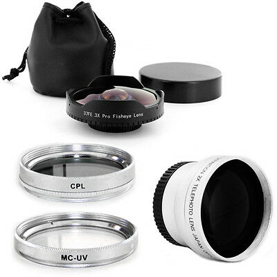 37mm 0.3x Wide Angle Fisheye Lens + Tele + Filters for JVC Everio GZ-HD620,NEW