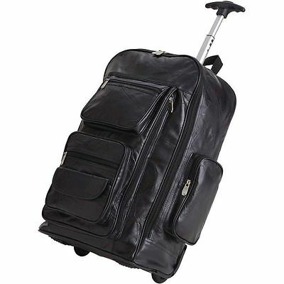"Leather 24"" Rolling Carry-On Luggage Bag , Mens School Laptop Bookbag Trolley"