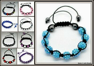 Shamballa Style Mixed Beads Braided Bracelet Jewellery Making Kit + Instructions