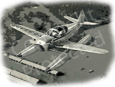 """""""The Swift"""" N33336 GC-1A Aircraft Drawn On Floats 1940's Poster Still Airworthy"""
