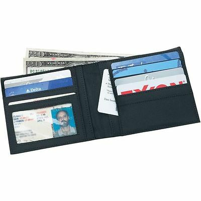 Mens Solid Black Bifold Genuine Leather Wallet, Slim Pocket Card ID Money Holder