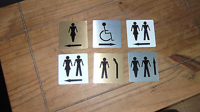 Toilet Signs 100mm x 100 with direction arrows aluminium self-adhiesive