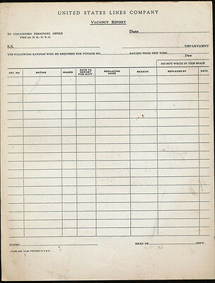 Lot of 50+ Unused Vacancy Report Forms - United States Lines - c1962