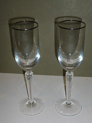 Waterford Crystal Pair of Tall Flute Glasses, Silver-tone Rims, Elegant Stems