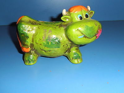 Retro 1960s Neon Green COW Coin Bank TRIMONT WARE Japan Ceramic NICE L@@K
