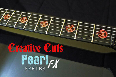 Goat Pentagram RED PEARL Fret Markers Inlay Set Sticker Decal for BASS & GUITAR