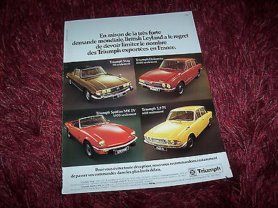 TRIUMPH 1973 Publicité magazine / Original French  AD //