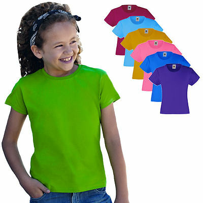 Fruit of the Loom Mädchen Kurzarm T-Shirt Kinder Kids Girl Shirt 104 - 164