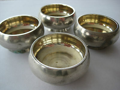 SET OF 4 ANTIQUE RUSSIAN IMPERIAL 84 SILVER SALT DISHES