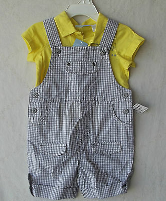 First Impressions Baby Boy 2PC Yellow Tee and Shortalls Set 18 Months NWT B5112