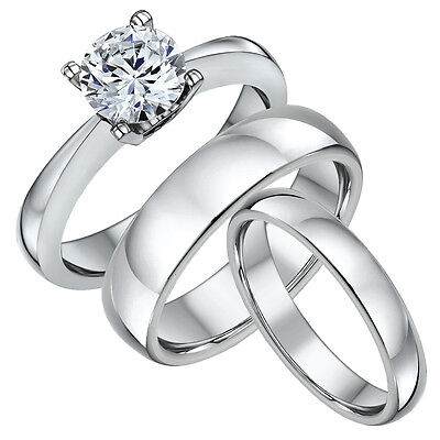 Titanium 2ct Engagement & His Hers Set Court Shaped 4&6mm Wedding Bands