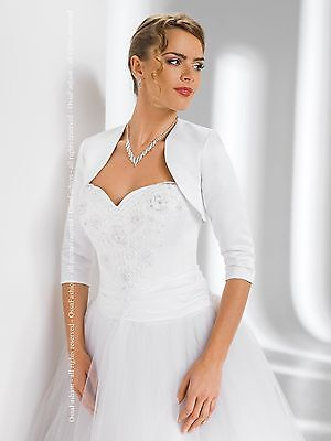 New Womens Bridal Wedding Satin Bolero Shrug Jacket  3/4 Sleeve Sizes XS-XXL