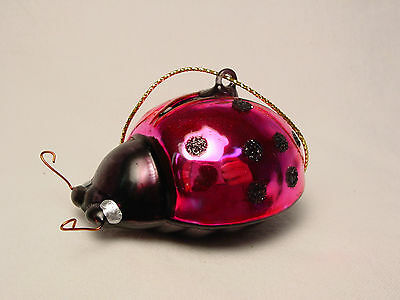NOS Mini Blown Glass Ladybug Beetle Xmas Tree Ornament Miniature Pink Handmade