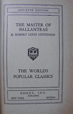 ART TYPE EDITION THE MASTER OF BALLANTRAE BY STEVENSON  (FREE SHIPPING)
