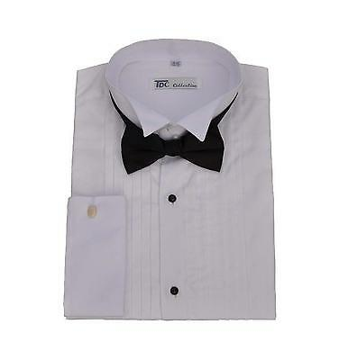 Men's Tuxedo Dress Shirt Wing Collar and French Cuff with Bow-Tie Set