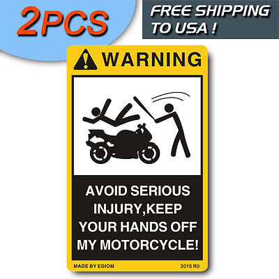 2Pcs Danger Signs For Your Motorcycle Moto Warning Decals Warning Vinyl Stickers