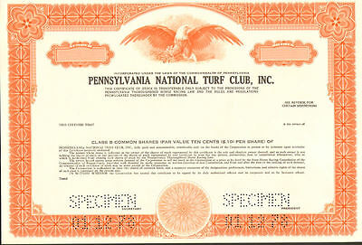 Pennsylvania National Turf Club > horse racing  track stock certificate specimen