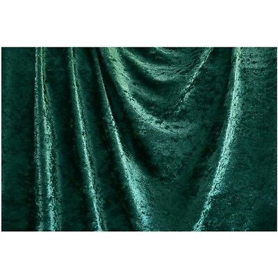 """Hunter Green Crushed Panne Velour Velvet 2 Way Stretch Fabric 58""""W By Yard"""