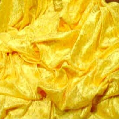 """Super Yellow Crushed Panne Velour Velvet 2 Way Stretch Fabric 58""""W By Yard"""
