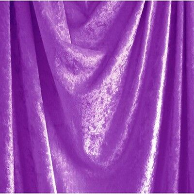 """Lilac Purple Crushed Panne Velour Velvet 2 Way Stretch Fabric 58""""W By Yard"""