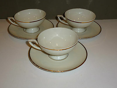 Johann Haviland Bavaria Set of 3 White Cups/Saucers, Cream with Gold Band, Deco